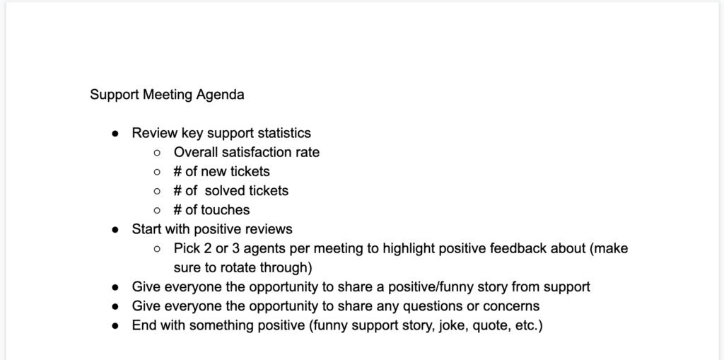 Support Meeting Agenda